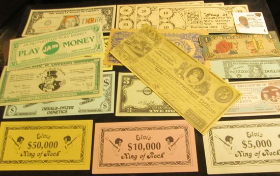Large Group of Advertising, Political, and Satirical Currency.