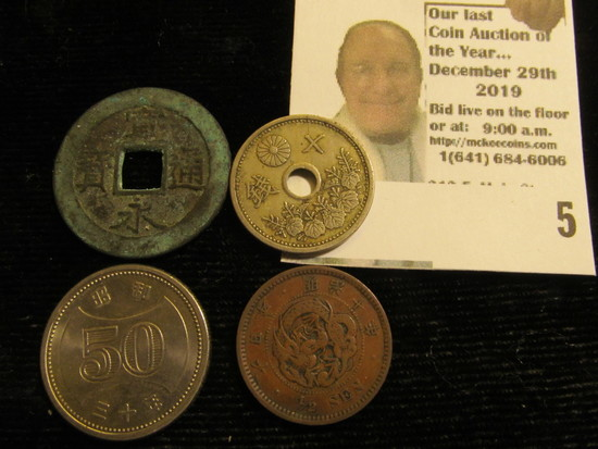 (4) Different Jaopanese Coins, one of which dates back a couple of hundred years.