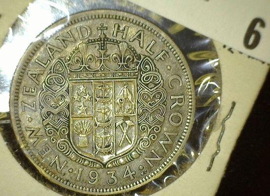 1934 New Zealand Silver Half Crown, VF-EF.