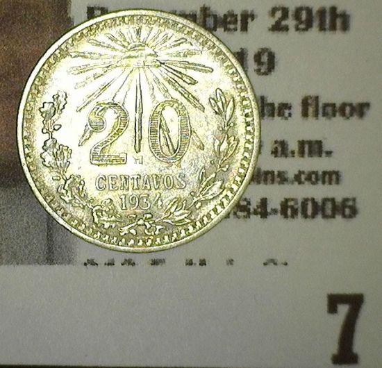 1934 Mexico Silver 20 Centavos. AU.