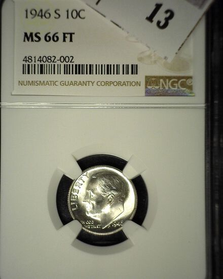 1946 S Roosevelt Silver Dime, NGC slaqbbed MS 66 FT.