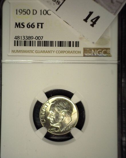 1950 D Roosevelt Silver Dime, NGC slaqbbed MS 66 FT.