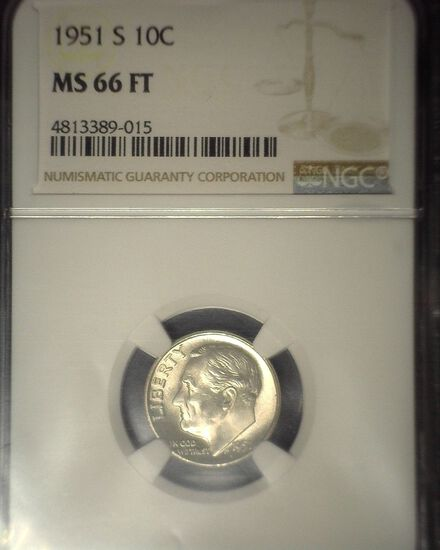 1951 S Roosevelt Silver Dime, NGC slaqbbed MS 66 FT.