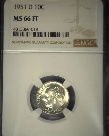 1951 D Roosevelt Silver Dime, NGC slaqbbed MS 66 FT.