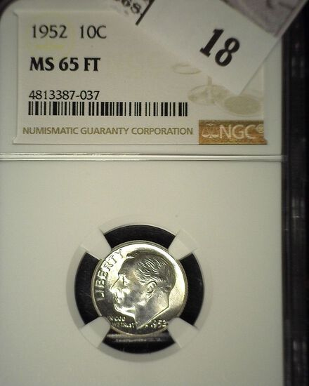 1952 P Roosevelt Silver Dime, NGC slaqbbed MS 65 FT.