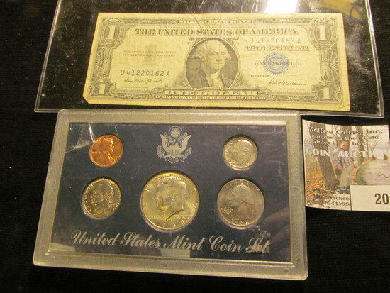 1968 BU Year Set, mixed Mints; & Series 1957 One Dollar Silver Certificate.
