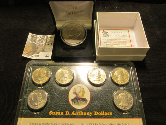 "1972 Variety II Eisenhower Dollar in a ""Matthew Mint"" Coin Box with C.O.A.; & a Littleton Coin Co. C"