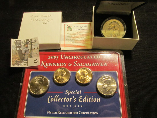 "1972 Variety II Eisenhower Dollar in a ""Matthew Mint"" Coin Box with C.O.A. (cracked case); & a Littl"