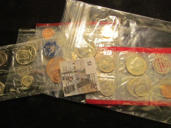 1969, 77, 87, & 89 Red Pack cellophane U.S. partial Mint Sets; 1977 Denver Mint Souvenir Set with me