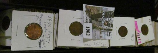 """12"""" Stock box loaded with old Lincoln Cents dating back to 1910.  Ready for pricing and the Coin sho"""
