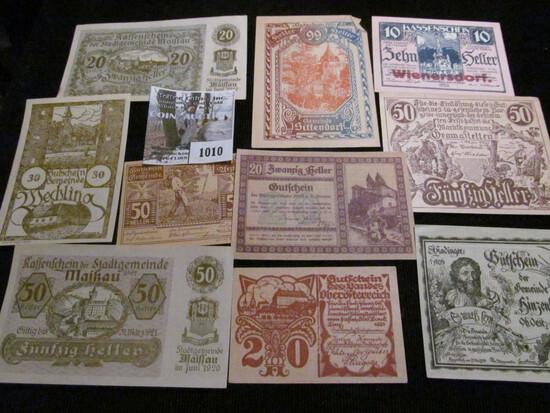 Collection of ten different pieces of German Notgeld.