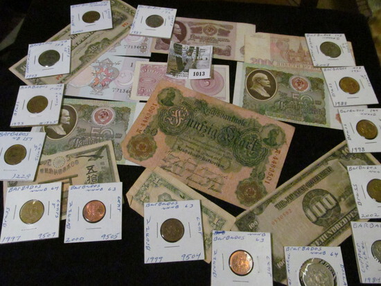 Interesting group of Old Foreign Banknotes and Coins, several dating back to WW II and before.