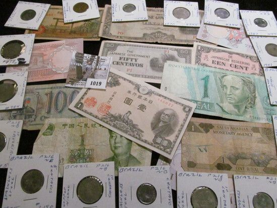 Interesting group of Old Foreign Banknotes and a large group of Brazilian Coins, several dating back