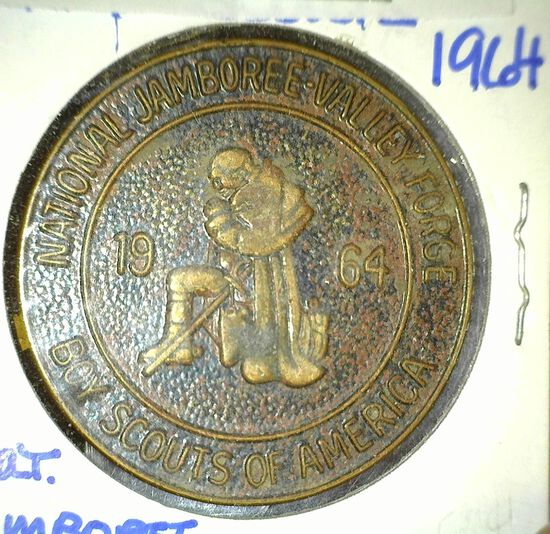 """""""1964 National Jamboree-Valley Forge/Boy Scouts of America"""", rd., brass, 36mm."""