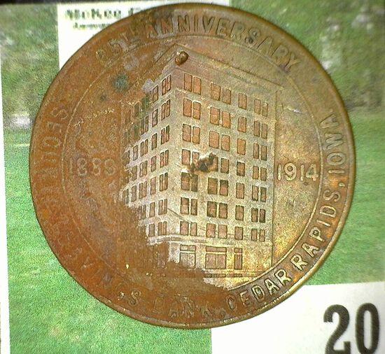 """1889 1914/25th Anniversary/Security Savings Bank, Cedar Rapids, Iowa"", ""Security Savings Bank/Cedar"