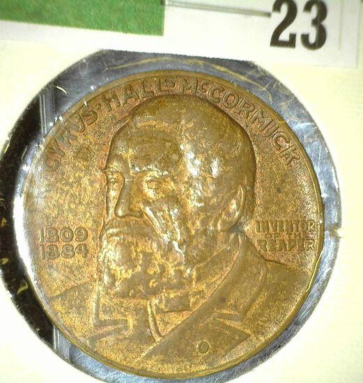 """Cyrus Hall McCormick/1809/1884/Inventor/of the/Reaper"", ""International Harvestor Company/Centennial"