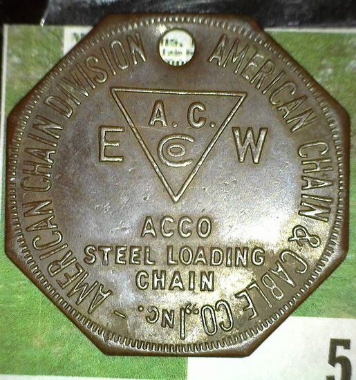"""""""American Chain Division American Chain & Cable Co.Inc./A.C./Co./EW/Acco/Steel Loading/Chain"""", oct.,"""