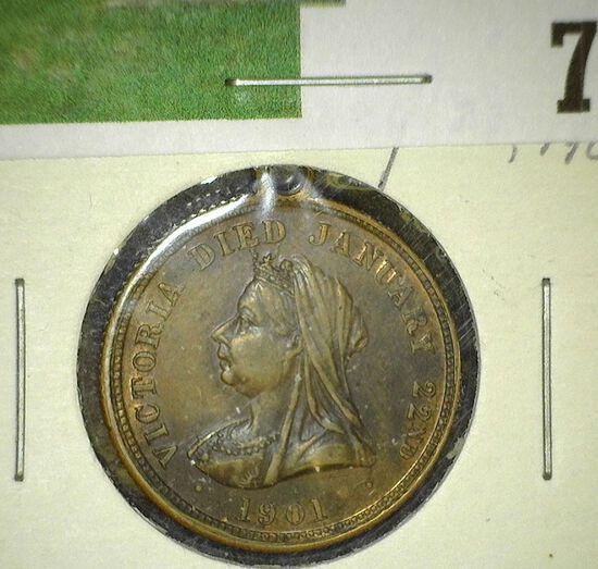 """Victoria Died Jan.22nd/1901"", ""Edward VII and Alexandra/1901"", AU, looped. 21mm."