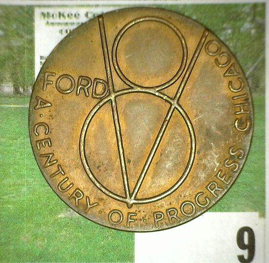 """""""For Exposition/1934"""", """"Ford V8 A Century of Progress Chicago"""". Copper, 34mm."""
