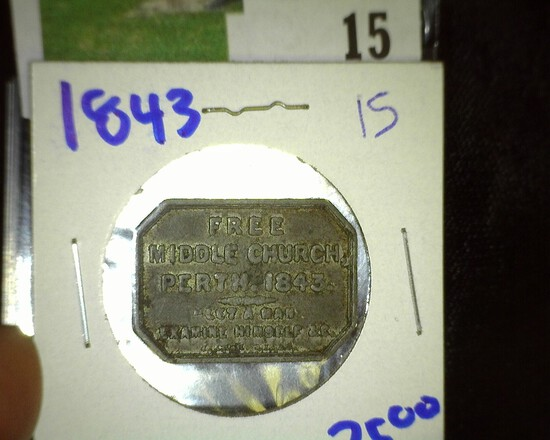 1843 Scottish Communion Token From The Free Middle Church In Perth