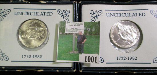 Pair of 1982 D George Washington Half Dollars in original blue boxes.