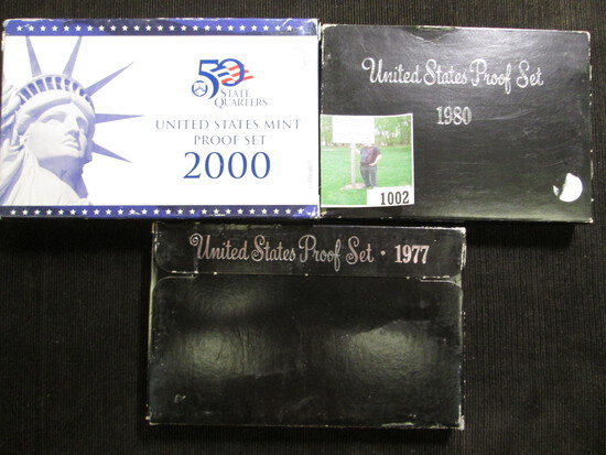 1977 S, 1980 S, & 2000 S U.S. Proof Sets in original boxes of issue.