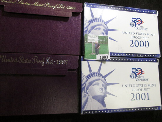 1987 S, 1992 S, 2000 S & 2001 S U.S. Proof Sets in original boxes of issue.