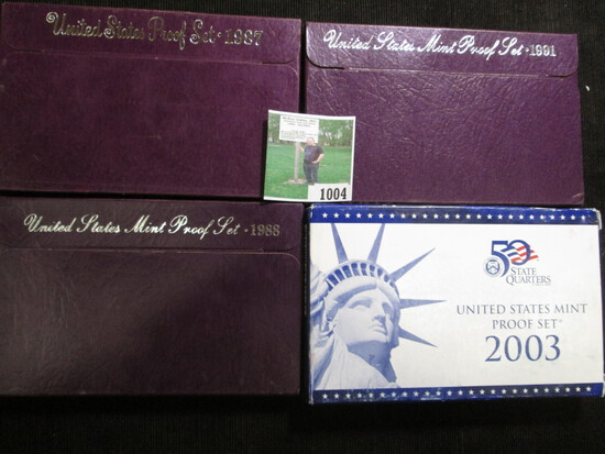 1987 S, 1988 S, 1991 S, & 2003 S U.S. Proof Sets in original boxes of issue.