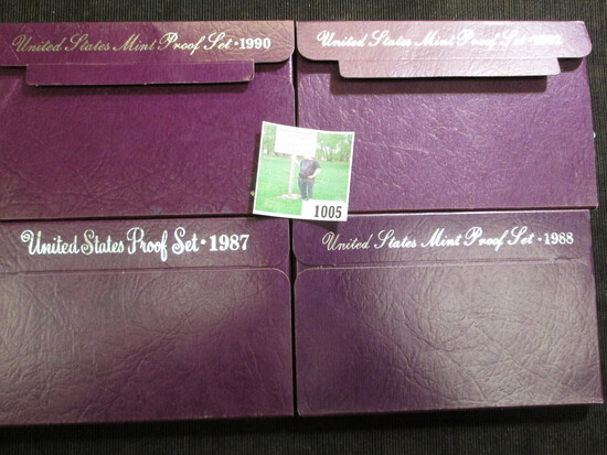 1987 S, 1988 S, 1990 S, & 1992 S U.S. Proof Sets in original boxes of issue.