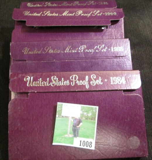 1984 S, 1988 S, 1990 S, & 1991 S U.S. Proof Sets in original boxes of issue.