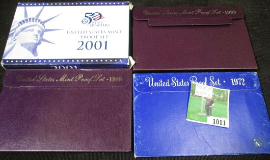 1972 S, 88 S, 89 S, & 2001 S U.S. Proof Sets in original boxes of issue.
