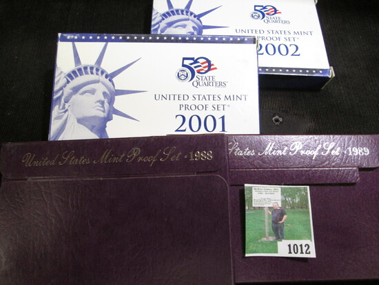1988 S, 89 S, 2001 S, & 2002 S U.S. Proof Sets in original boxes of issue.