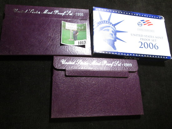 1988 S, 89 S, & 2006 S U.S. Proof Sets in original boxes of issue.