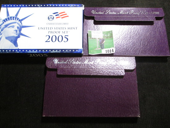 1988 S, 89 S, & 2005 S U.S. Proof Sets in original boxes of issue.