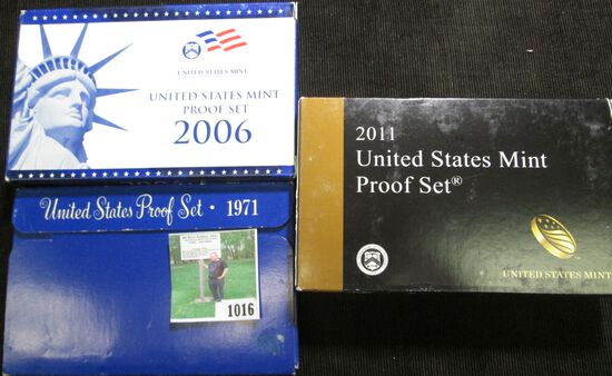 1971 S, 2006 S, & 2011 S U.S. Proof Sets in original boxes of issue.