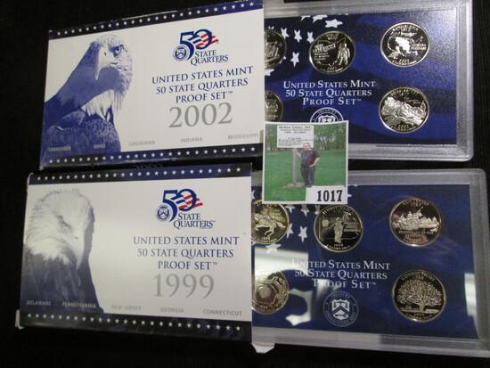 1999 S & 2002 S U.S. Quarters Proof Sets.