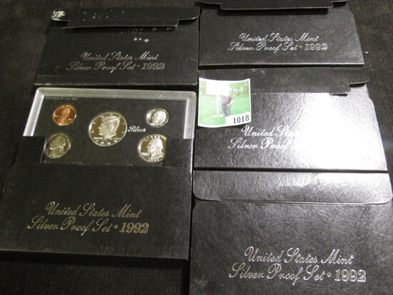 (5) 1992 S U.S. Silver Five-Piece Proof Sets. (total of 25 coins).