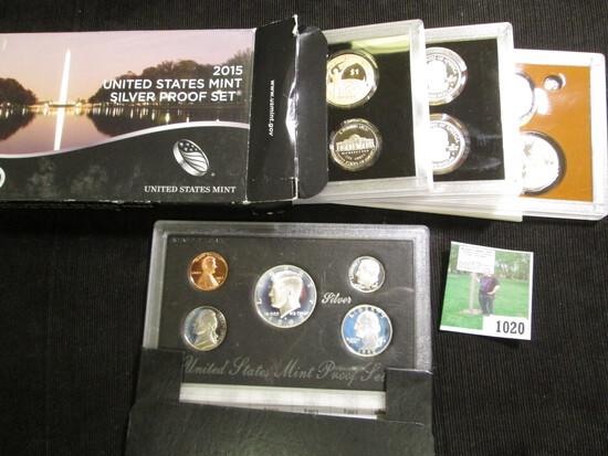 1992 S U.S. Silver Five-Piece Proof Set; & 2015 S U.S. Silver Fourteen-Piece Proof Set.