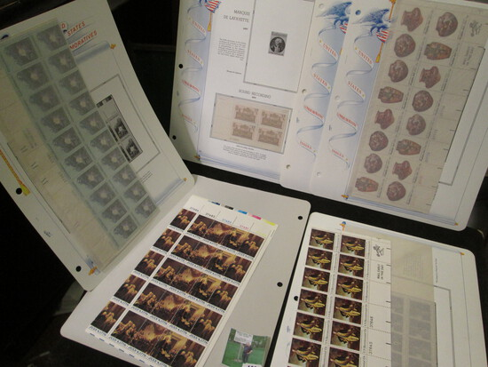 Old Mint U.S. Stamp Collection of Partial Sheets & Plateblocks. ($10.29 face value).