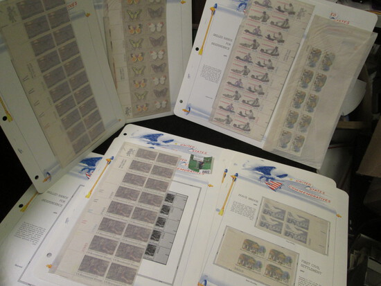Old Mint U.S. Stamp Collection of Partial Sheets & Plateblocks. ($12.22 face value).
