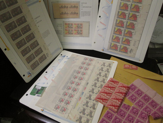 Old Mint U.S. Stamp Collection of Partial Sheets & Plateblocks. ($12.33 face value).