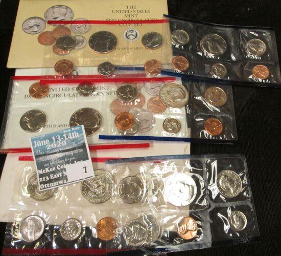 1981, 89, & 90 U.S. Mint Sets in original cellophane and envelopes.