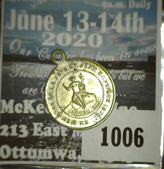 Fete Of St Jean Baptist Medal Dated 1878 Souvenir Of The Montreal Music Festival