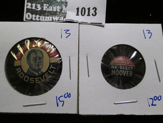Political Pinback Lot Includes Speed Recovery Reelect Hoover And Carry On With Roosevelt Pinback