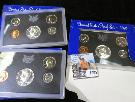(3) 1970 S U.S. Proof Sets in original boxes with scarce Silver Proof Half-dollar.