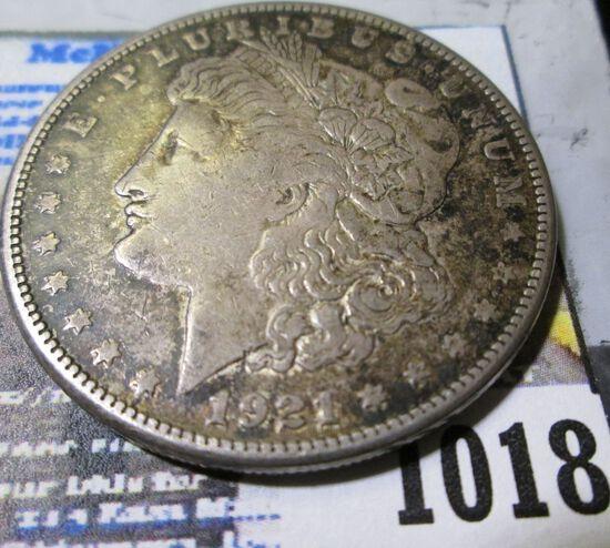 1921 S Morgan Silver Dollar, VG.