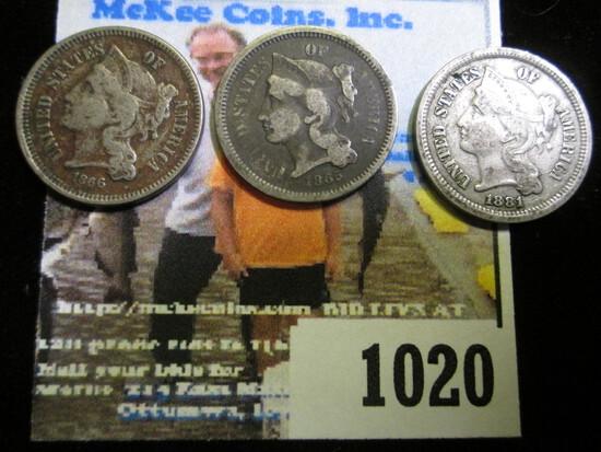 1865, 1866, & 1881 U.S. Three Cent Nickels.