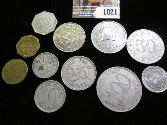 Collection of (11) different Good For Tokens. Includes Audubon, Elgin, Exira & Fort Dodge, Iowa, & F