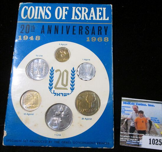1948-1968 Coins of Israel 20th Anniversary six-piece Mint Set in original holder of issue from the H