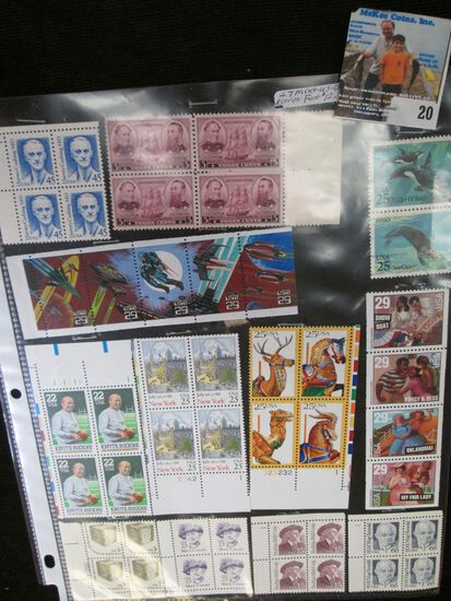 (47) Mint U.S. Stamps in blocks and strips. Face value $12.15.